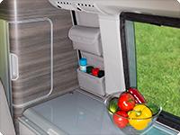 """UTILITY para la ventana sobre la cocina VW T6/T5 California Ocean/Coast/Comfortline/Trendline, diseño: """"Cuero Gris Moonrock""""."""