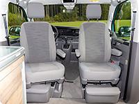 """Second Skin para asientos (sin ajuste eléctrico) de la cabina de los VW T6.1 California Ocean/Coast en el diseño """"Circuit/Palladium"""""""