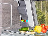 """UTILITY para la ventana sobre la cocina de los VW T6.1 California Ocean / Coast , diseño """"Cuero Palladium"""""""