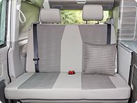 """Second Skin para el banco trasero de 2 asientos VW T6/T5, diseño California Ocean """"Valley/Gris Moonrock"""""""